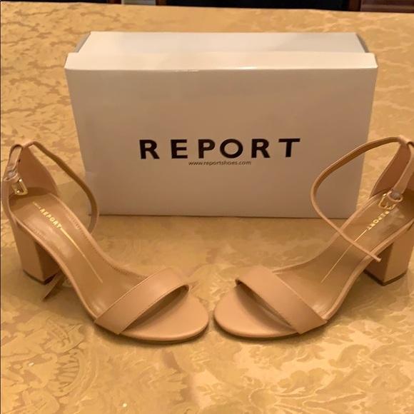 Nude Color Block Heel Dress Sandals